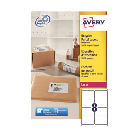 avery recycled laser white parcel label   mm