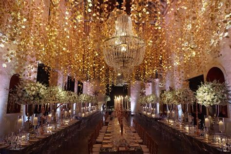 rose gold wedding ceiling decor cartagena destination