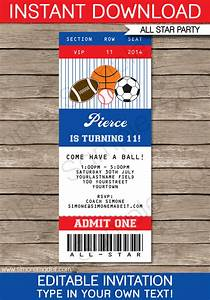All star sports ticket invitations sports invitations for Sports ticket template free download