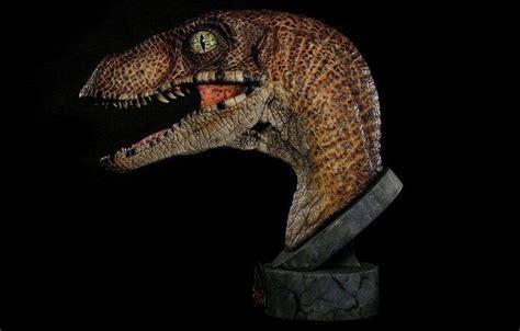 life size jurassic park raptor bust