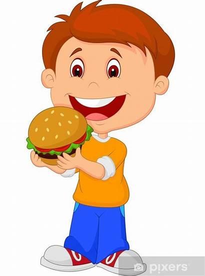 Eating Cartoon Clipart Boy Burger Hamburger Vector