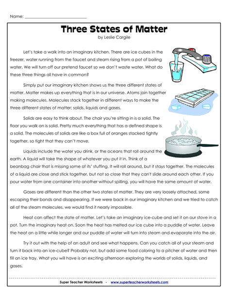 three states of matter worksheet worksheets for all