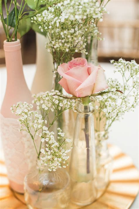 diy centerpiece blush roses gold charger painted wine