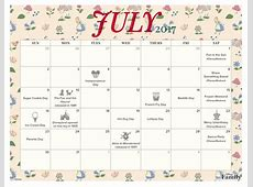 July 2017 Printable Calendar and Coloring Pages Disney