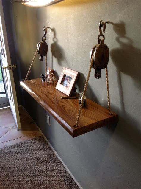 weekend project   hanging shelf   slab  teak    barn pulleys furniture