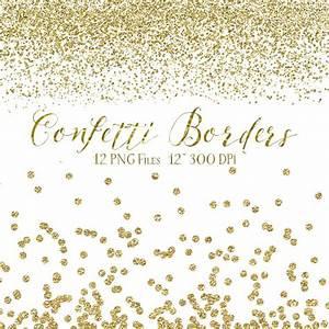 Gold Confetti Borders - Glitter Confetti Clipart - Digital ...