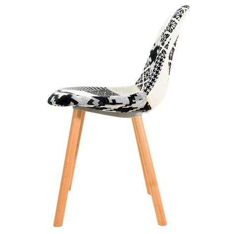 chaise noir et blanche chaise arctik patchwork et blanche lot de 2