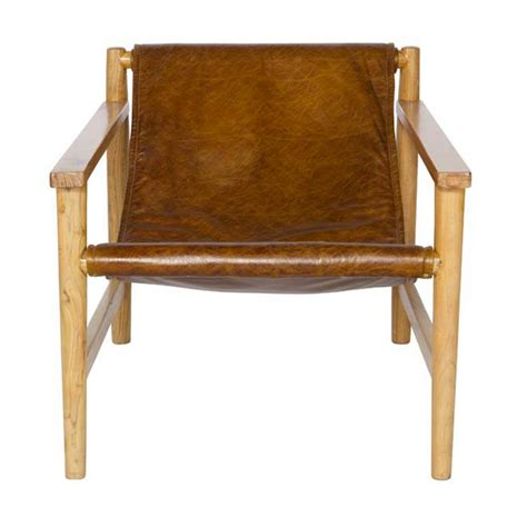 fauteuil en bois et cuir sling par drawer fr