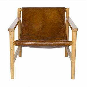 Fauteuil en bois et cuir sling par drawerfr for Fauteuil design bois et cuir