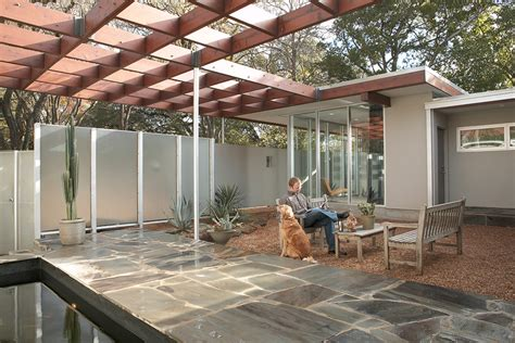 modern pergola patio midcentury with container plants arbor