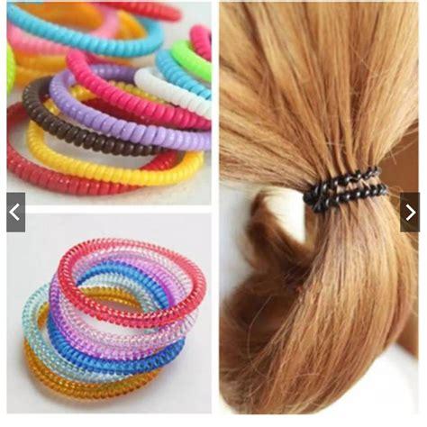 ikat rambut spiral besar karet rambut kabel telepon ulir