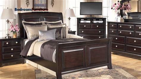 ashley ridgley  piece sleigh bedroom set  dark brown youtube