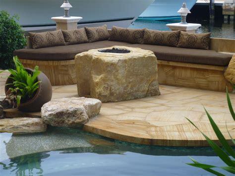 backyard pit quartzite boulder contemporary patio