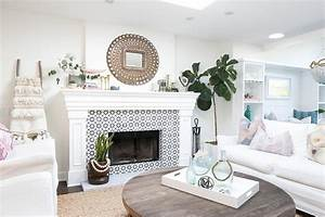 Peacock, Mirror, Over, Fireplace, With, Black, And, White, Tiles, -, Transitional
