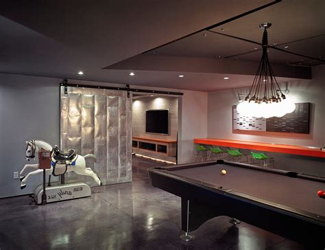 large basement modern  wall mounted tv top game tables