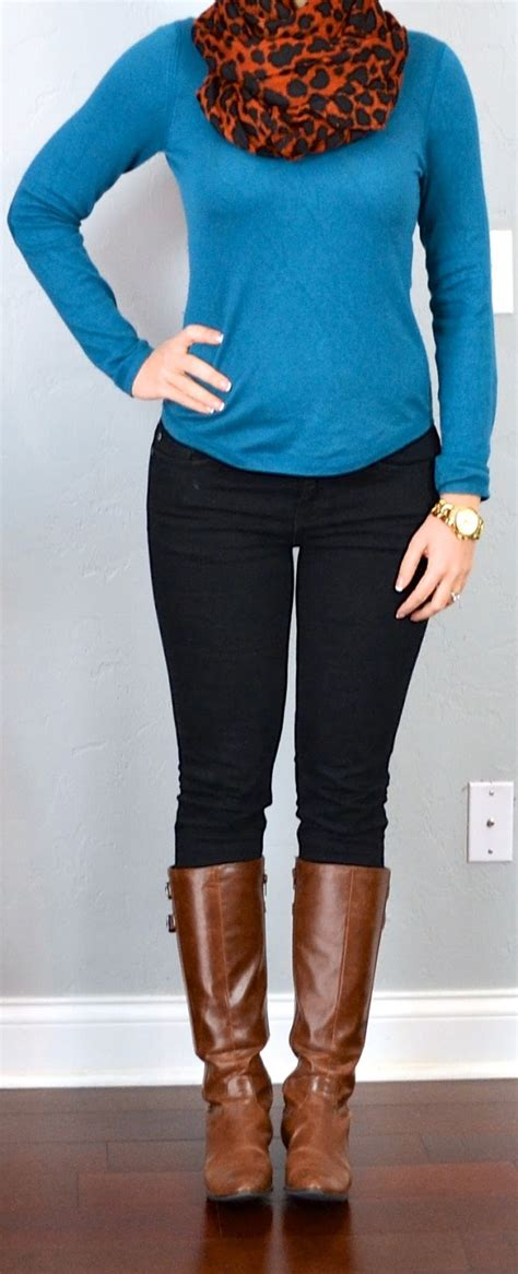 Outfit post teal sweater animal print scarf black skinny jeans