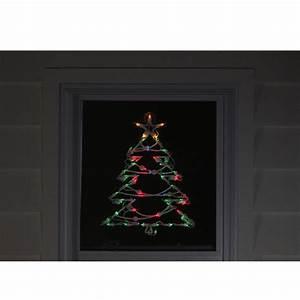 18, U0026quot, Lighted, Tree, Christmas, Window, Silhouette, Decoration