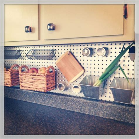 pegboard kitchen ideas metal pegboard backsplash just diy already pinterest