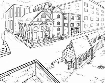 Perspective Gambar Sketsa Perspektif Pemandangan Kota Town