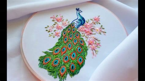 hand embroidery peacock simple craft ideas