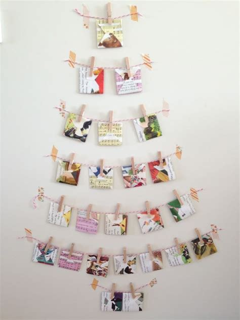 hanging cards on wall 26 wall christmas trees to save the space shelterness