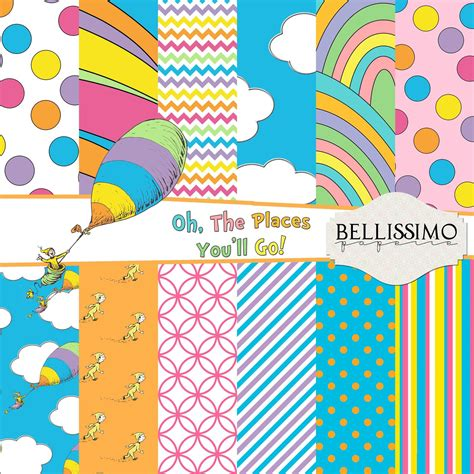 Oh The Places You'll Go Inspired Scrapbook Papers, 12