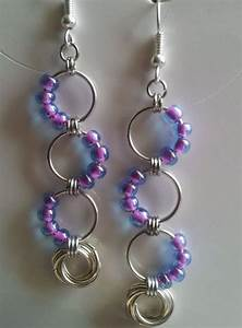 Beaded Chain Mail Wave Earrings  With Eternity Ring