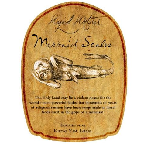 mermaid scales potion bottle label fitted  crown royal
