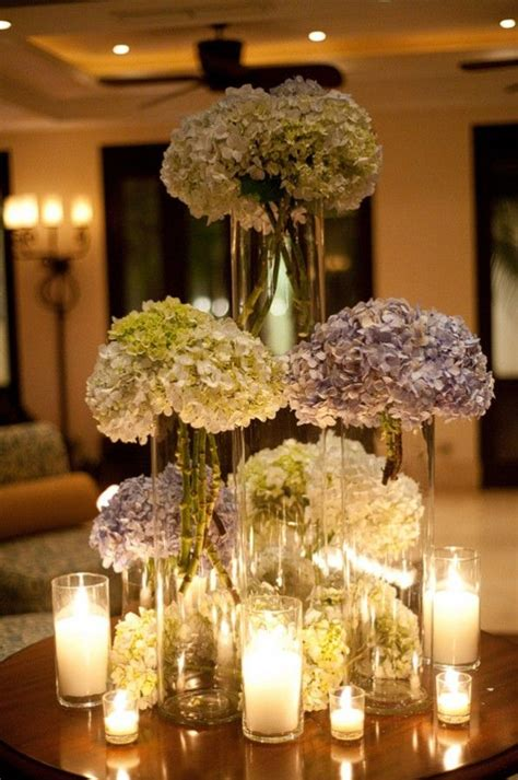 centerpieces with hydrangeas tall hydrangea centerpieces tree guest books destinations and the christmas