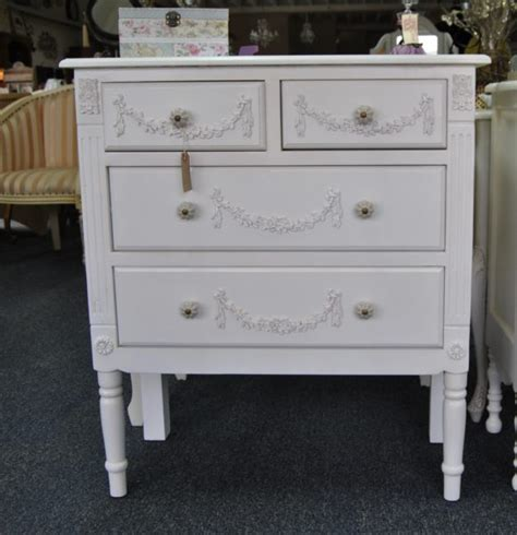 shabby chic chest of drawers white shabby chic antique white ornate distressed 4 drawer chest of drawers four seasons liverpool