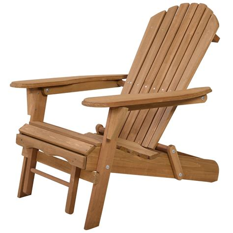outdoor foldable wood adirondack chair patio deck garden w
