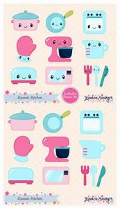 Instant download kawaii kitchen clipart and vectors for for Kitchen colors with white cabinets with kawaii planner stickers