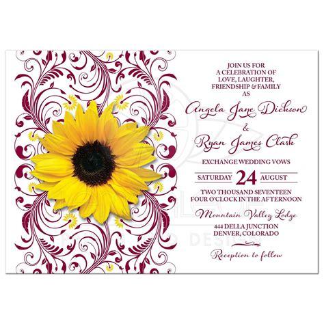 Burgundy Sunflower Floral Wedding Invite Burgundy Yellow