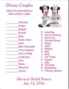 Disney Couples Bridal Shower Game