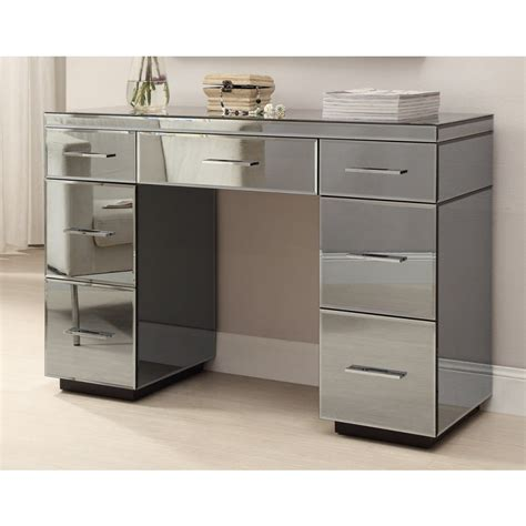 desk with drawers and mirror rio smoke mirrored dressing table console 7 drawer
