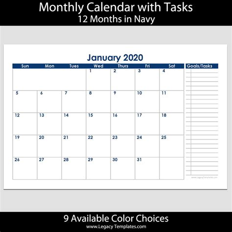 month landscape calendar tasks legacy templates