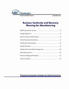 business continuity and recovery planning for manufacturing With manufacturing disaster recovery plan template