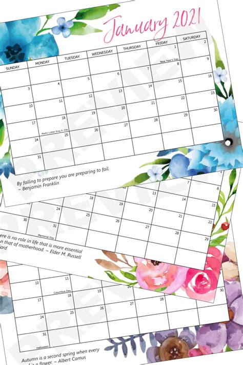 printable  calendar crafts  amanda