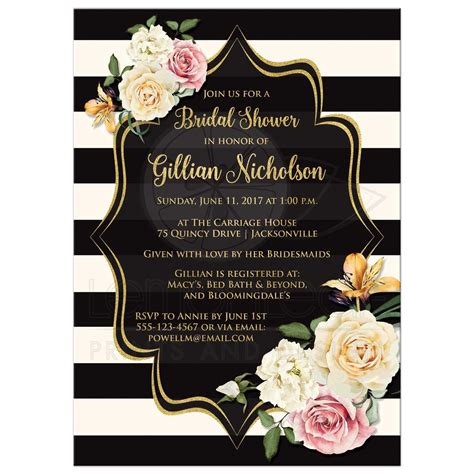 Kitchen Bridal Shower Ideas - bridal shower invitation black ivory stripes vintage floral simulated gold foil