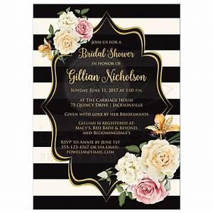 Bridal Shower Invitation Black, Ivory Stripes Vintage