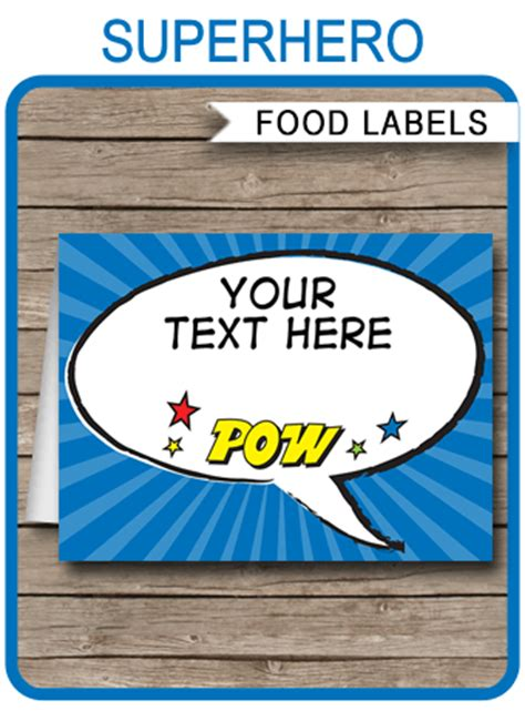 superhero party food labels place cards party decorations