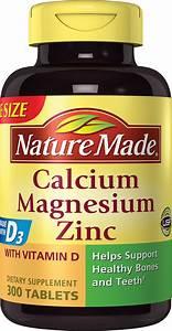 Nature Made Calcium Magnesium Zinc 300 Tablets  Vitamin D Pill D3 Supplement New