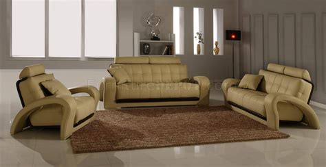 Modern Livingroom Sets by Leather Modern Living Room Set 4pc Bentley Beige Bn B201