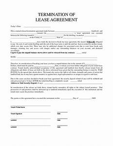 Early termination of lease agreement template templates for Template for termination of lease
