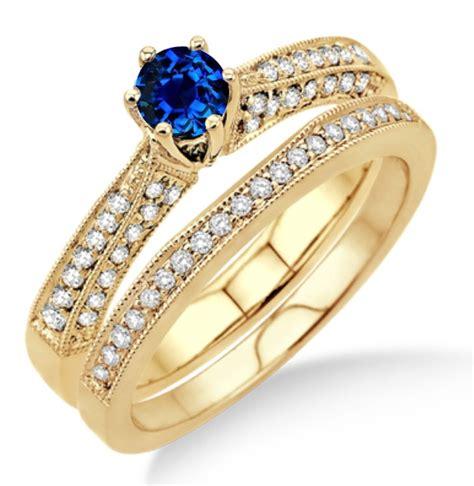 2 carat sapphire and diamond antique bridal set engagement
