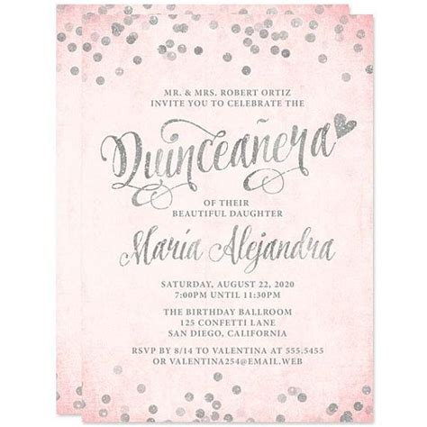 Blush Pink & Silver Quinceanera Invitations DIY