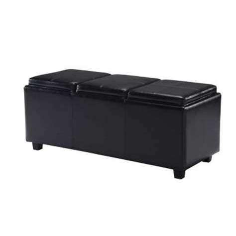 black ottoman serving tray simpli home avalon extra large rectangular faux leather