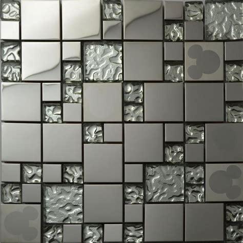 silver glass kitchen backsplash tile stainless steel glass