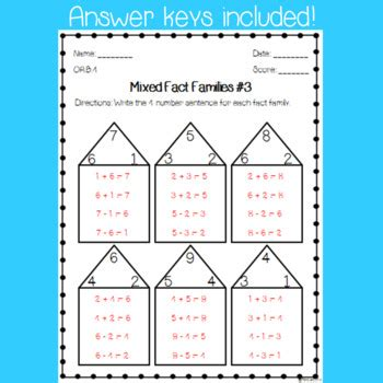 fact family worksheets relate addition subtraction
