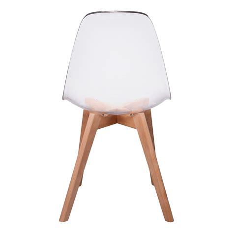chaise transparente design lot de 2 chaises design scandinaves pas cher pieds bois